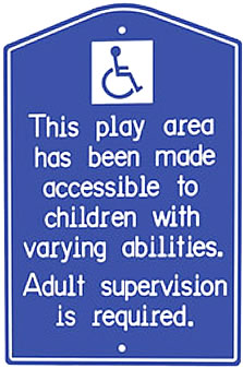 Special needs playground signs/ada playground signs