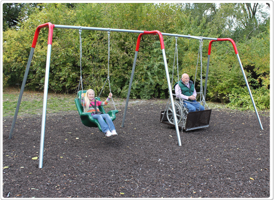 swingset_ada_moldedseatandwheelchairplatform/ Accessible Swing Set with Seat and Platform