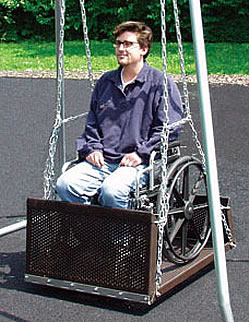 Accessible Swing Set With Seat And Platform