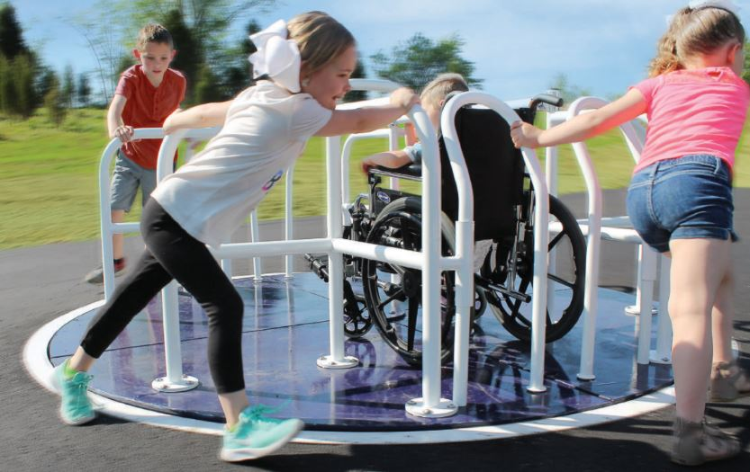 Our 8 Foot Merry Go Round Comes In Two Diffe Models Depending On Your Playground Surfacing The Wheelchair Accessible Design Pictured Is Purposed To